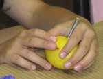 A student builds a fruit battery using a lemon.